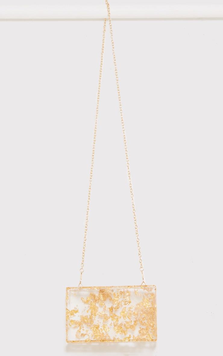 Aranka Gold Leaf Clear Clutch Bag 4