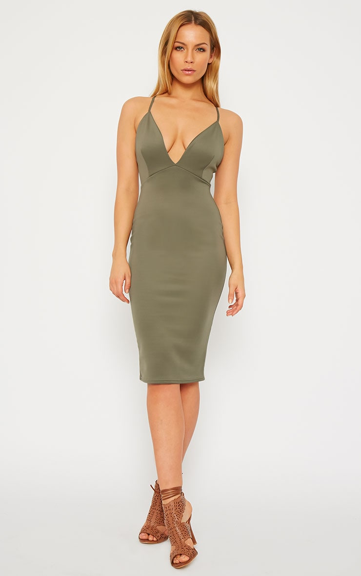 Nada Khaki Plunge Cross Back Midi Dress 1