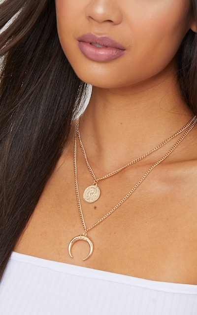 Gold Coin Bull Horn Layered Necklace
