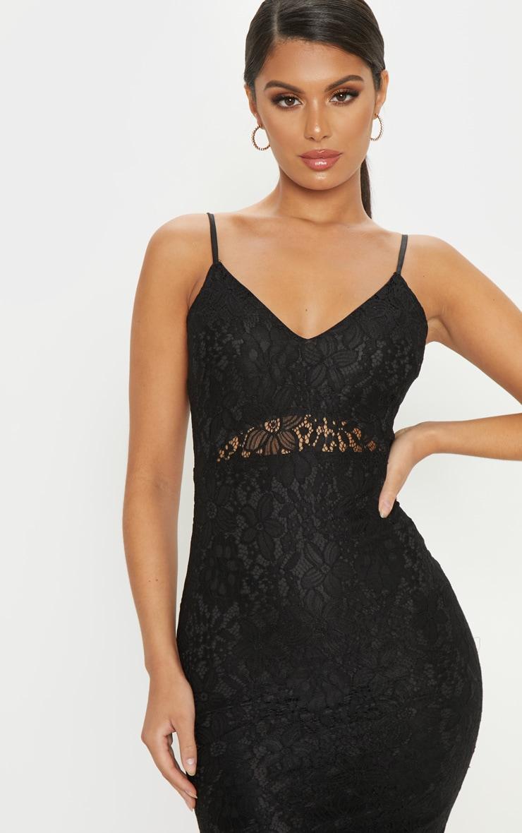 Black Lace Plunge Midi Dress  5