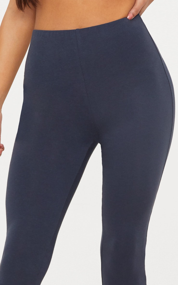 Charcoal Blue High Waisted Cotton Stretch Leggings  5