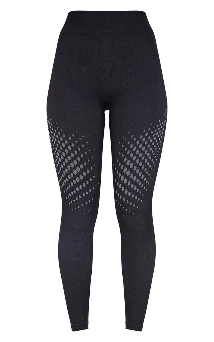 Legging noir sans coutures détail contours pois sur les cuisses 5
