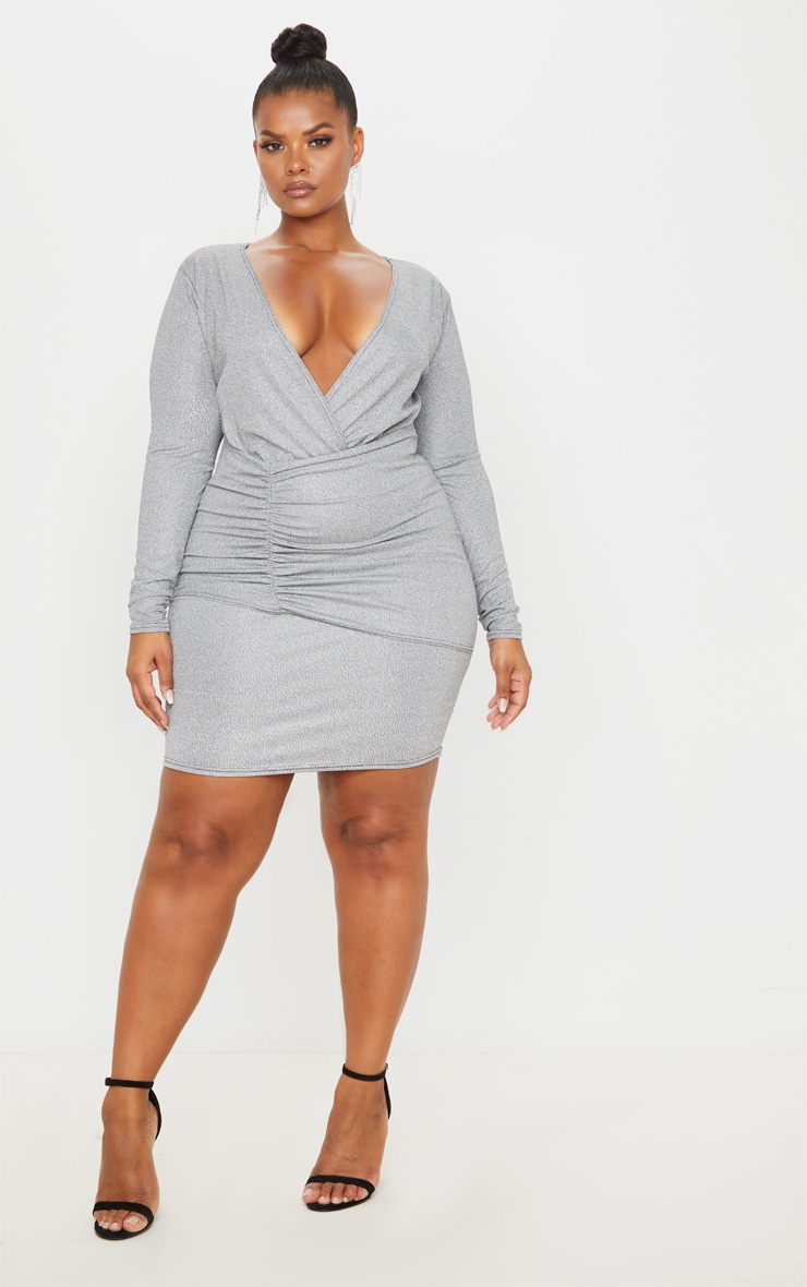 Plus Silver Glitter Plunge Wrap Bodycon Dress 1