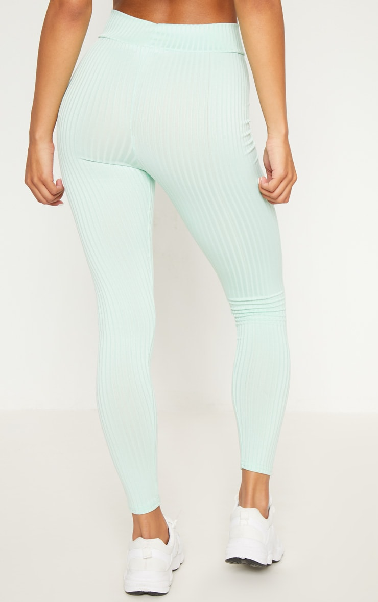 Mint Ribbed High Waisted Legging  4