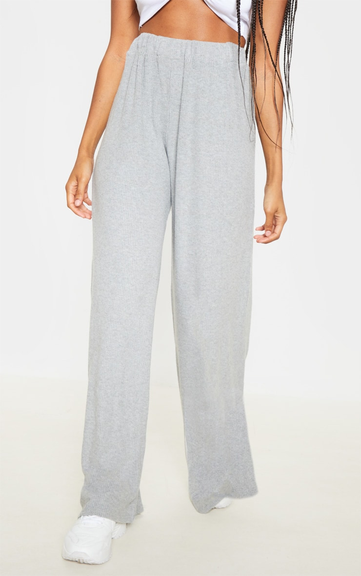 Grey Brushed Rib Wide Leg Pants 2