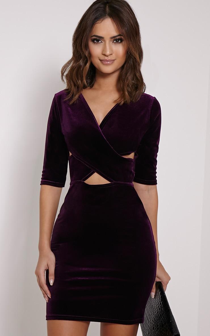 Marti Purple Velvet Cross Front Dress 1