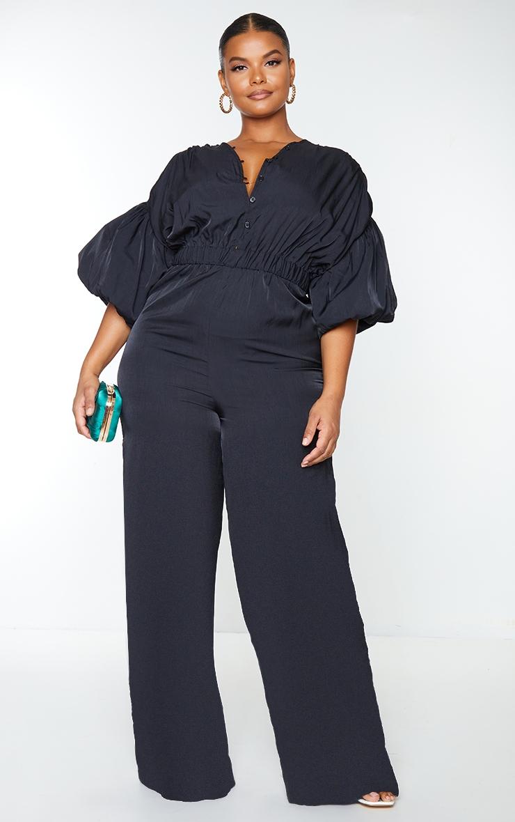 Plus Black Puffball Sleeve Wide Leg Jumpsuit 1