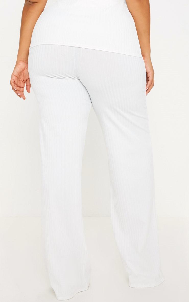 Plus Cream Rib Wide Leg Pants 4