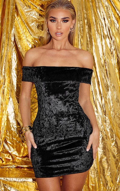 Black Velvet Bardot Bodycon Dress