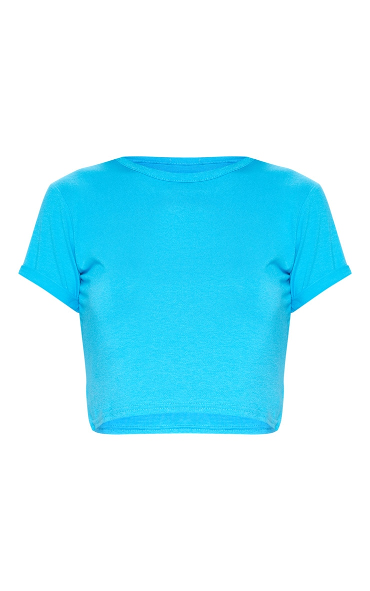 Basic Dark Turquoise Roll Sleeve Crop T Shirt  3