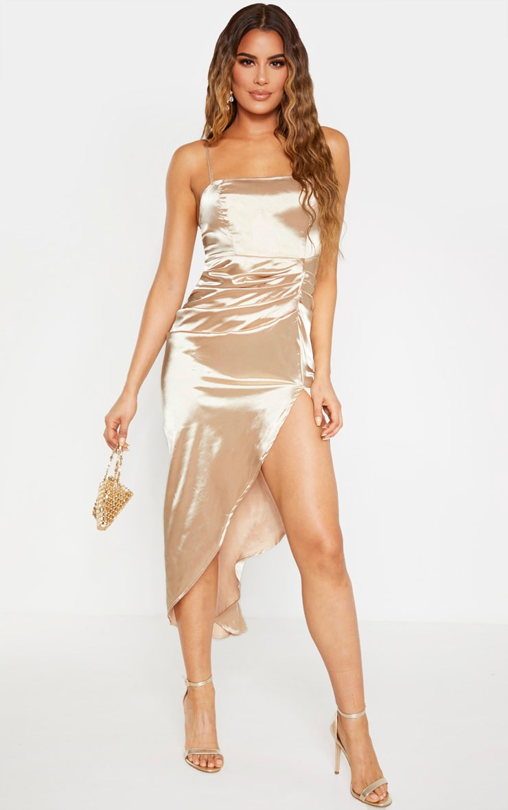 Tall Champagne Ruched Side High Split Satin Midi Dress 1