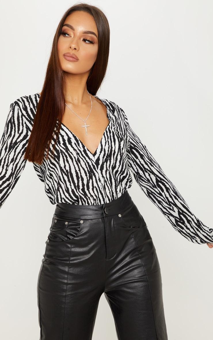 Mono Zebra Print Plunge Satin Bodysuit 4