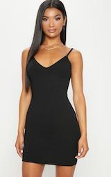 Black Rib Plunge Strappy Bodycon Dress 1