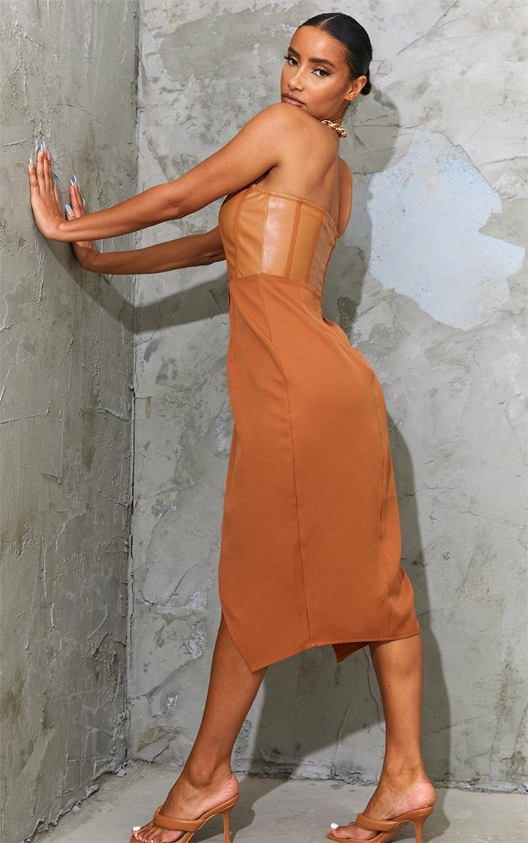 Tan PU Binding Detail Bandeau Midi Dress 2