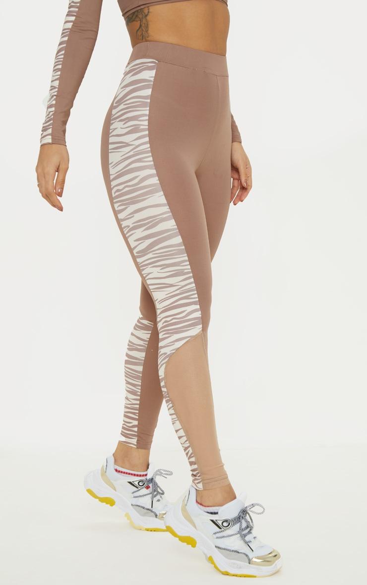 Zebra Panelled High Waist Gym Legging 2