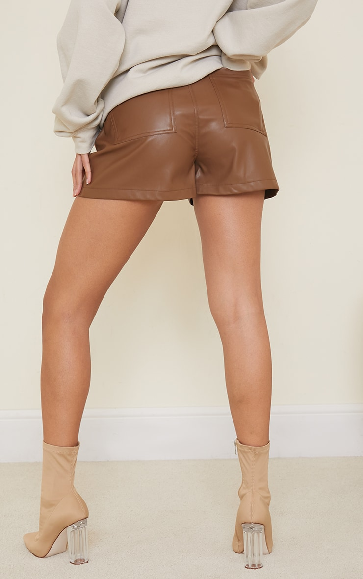 Chocolate Seam Detail Faux Leather Shorts 3