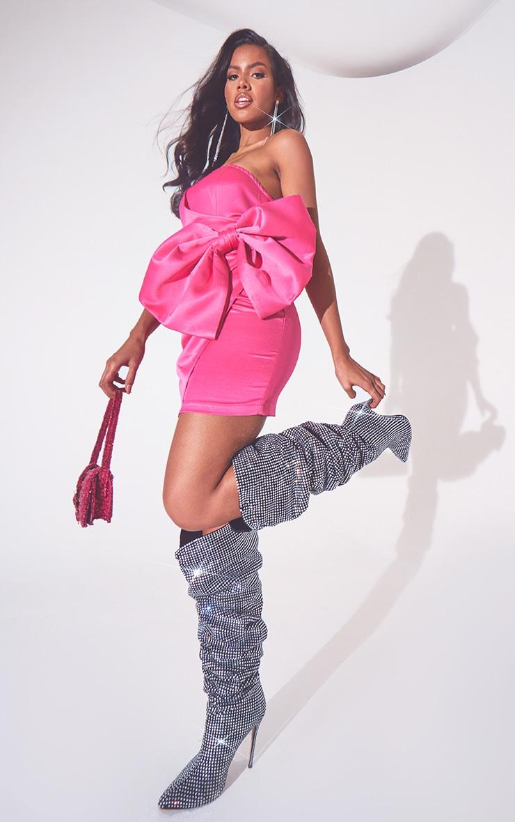 Hot Pink Satin Bow Detail Bandeau Bodycon Dress 1