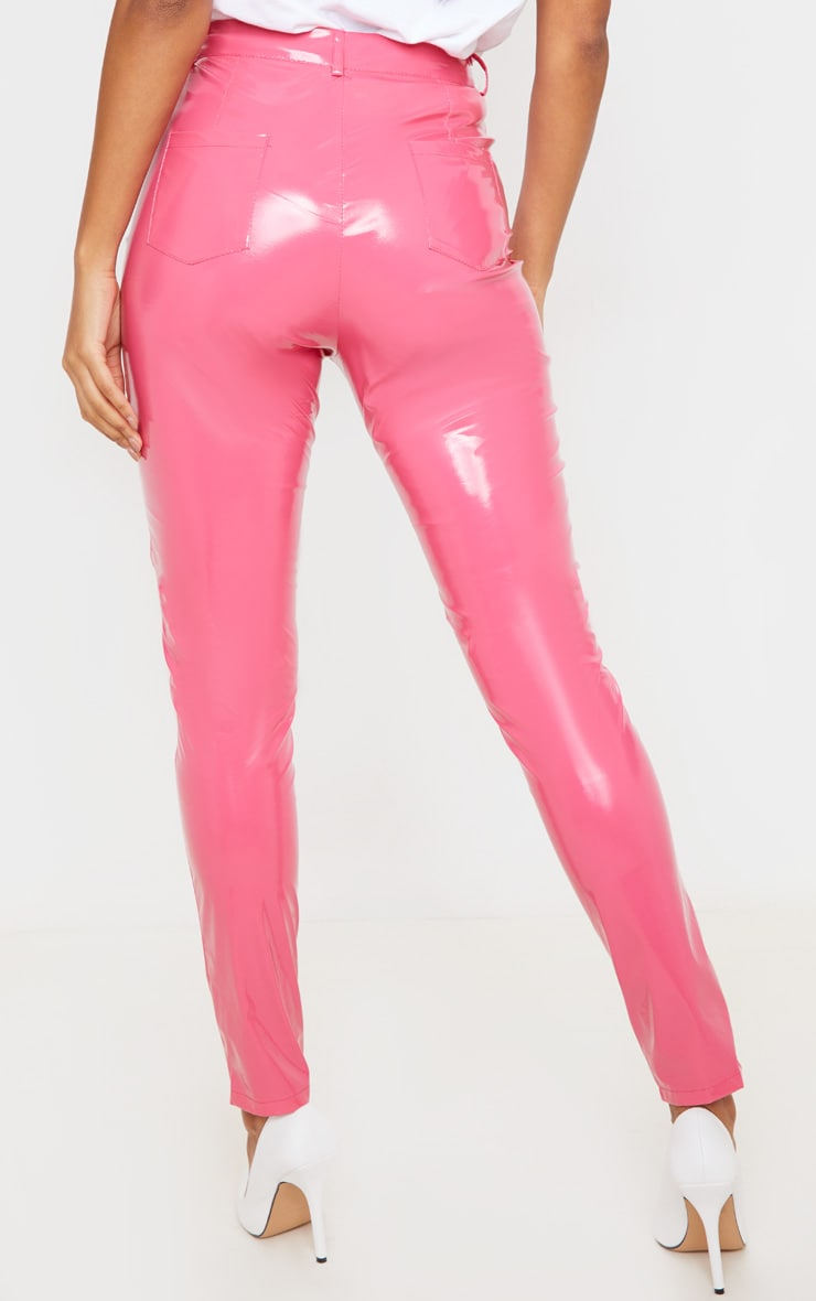 Hot Pink Button Front Vinyl Skinny Pants 4