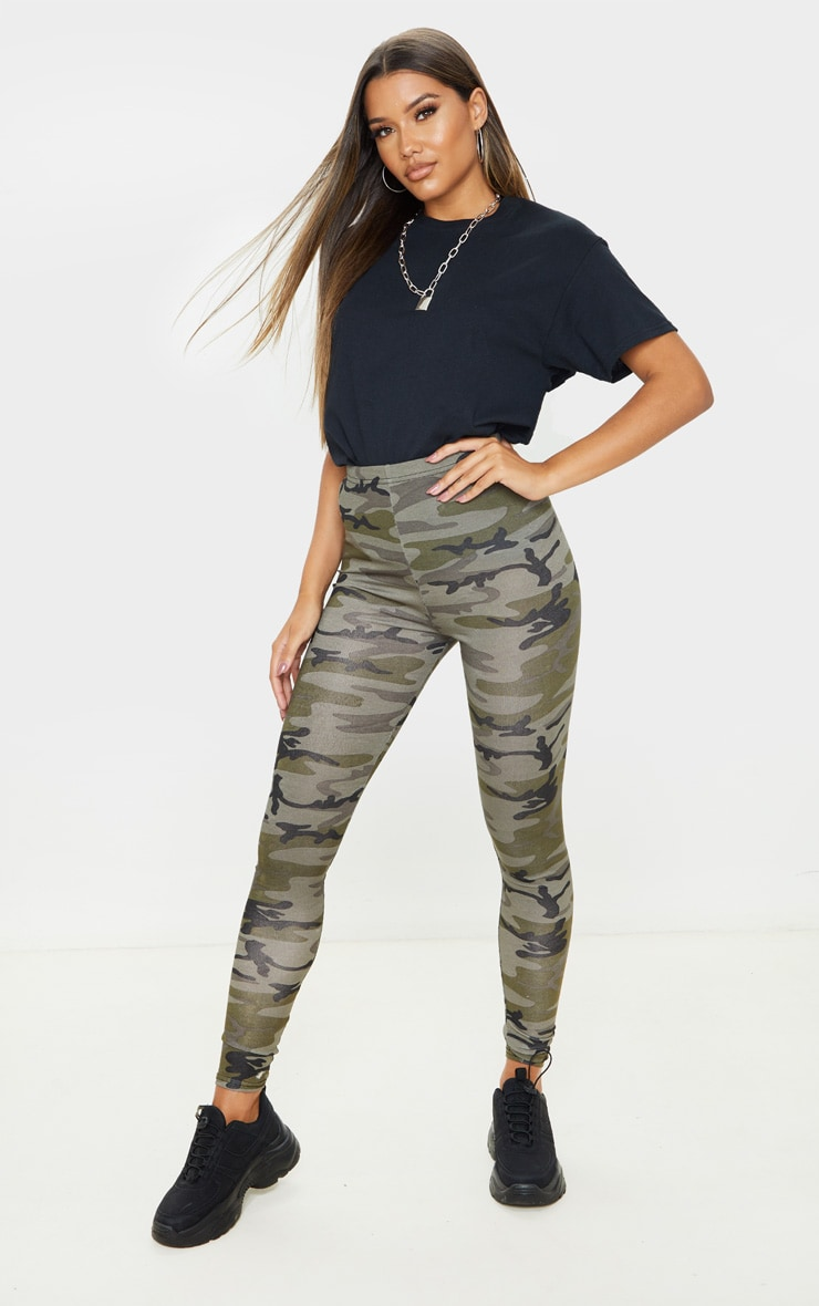 Khaki Camo Print Leggings 1