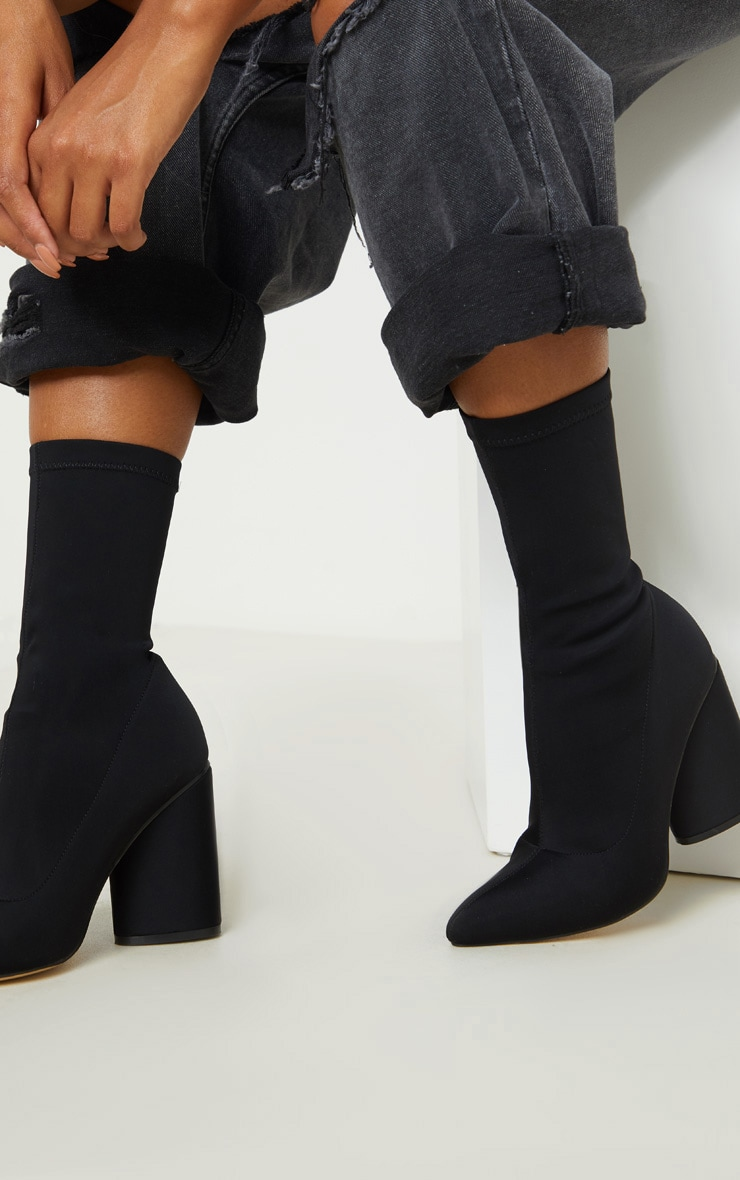 Black Chunky Block Heel Sock Boot 2