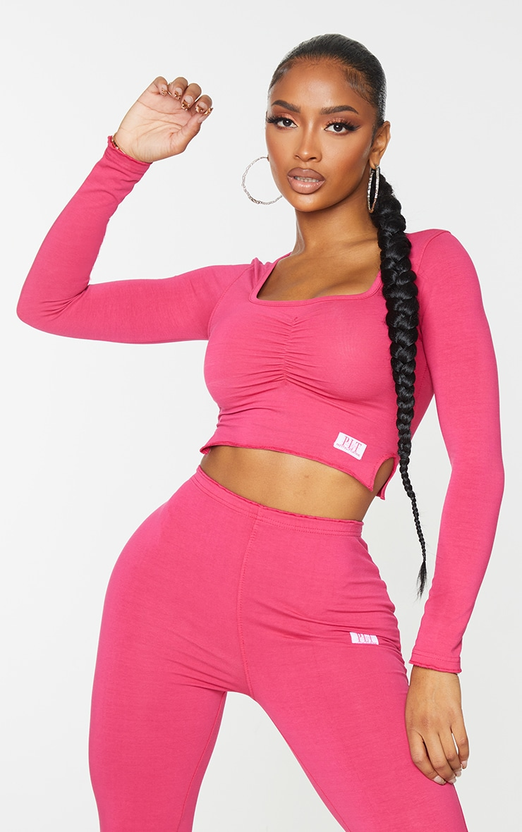 PRETTYLITTLETHING Shape Hot Pink Ruched Front Top 1