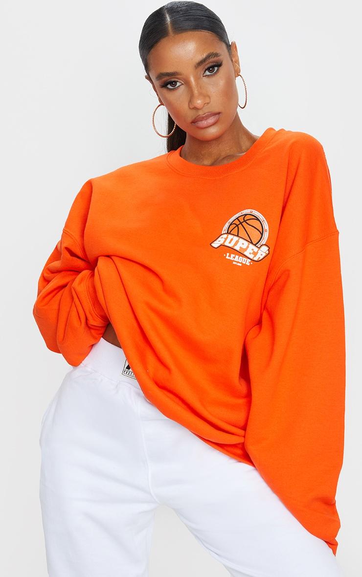 Orange Basketball Varsity Sweatshirt 1