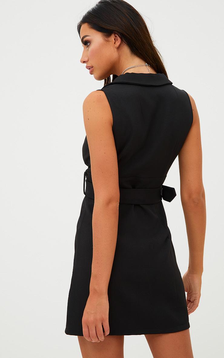 Black Sleeveless Tie Waist Blazer Dress Dresses