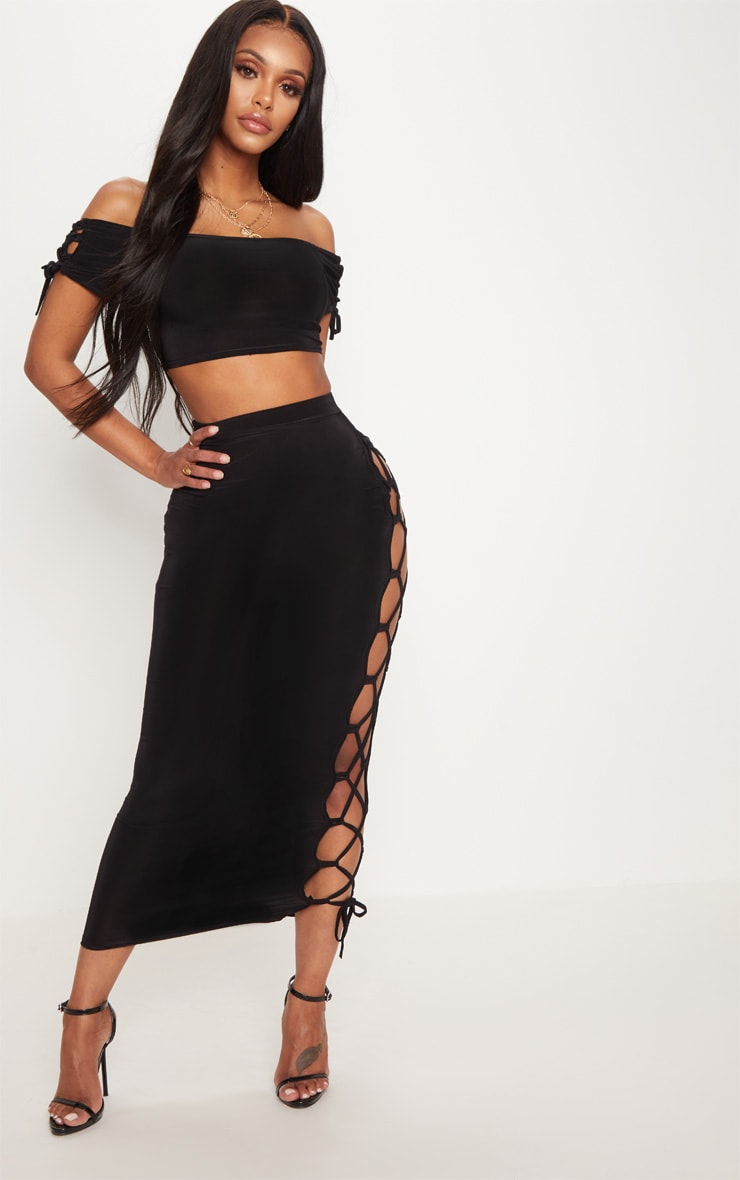 Shape Black Slinky Lace Up Detail Bardot Crop Top 4
