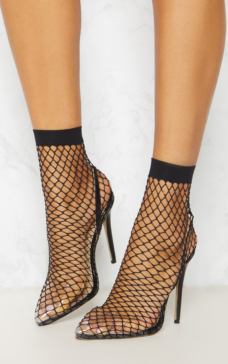 Black Fishnet Slingback Pointed Toe Heels 2