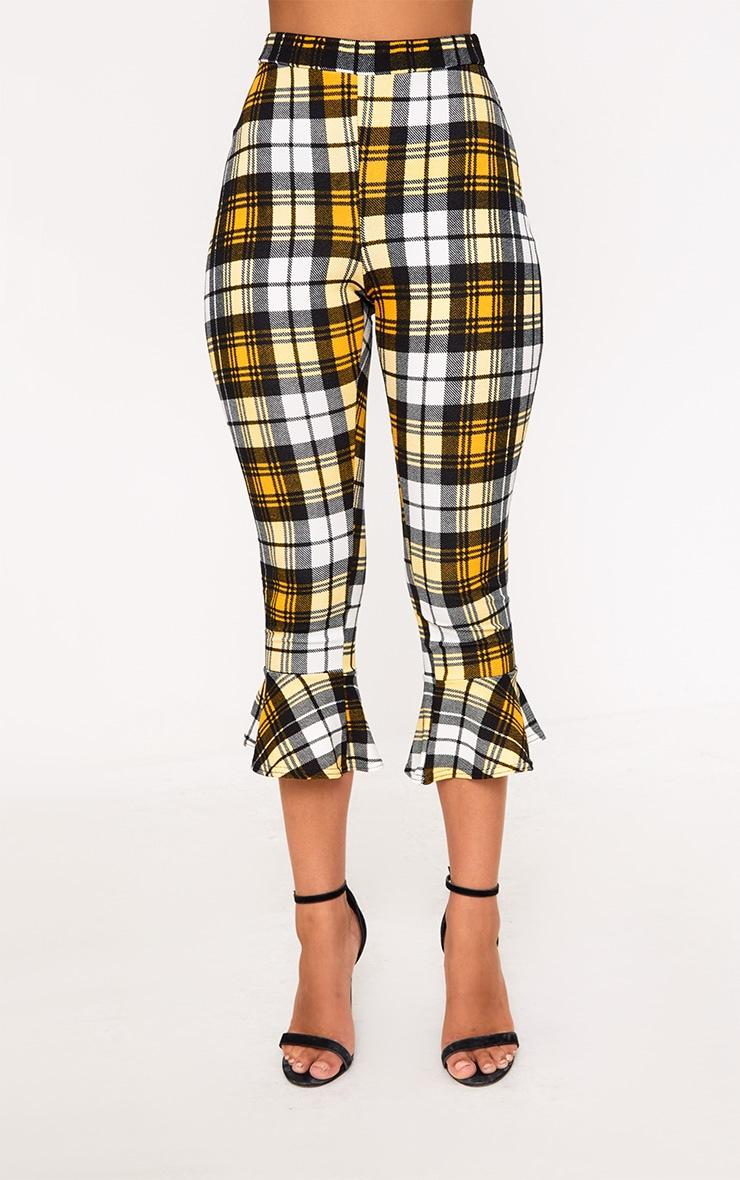 Yellow Check Flare Hem Trousers 2
