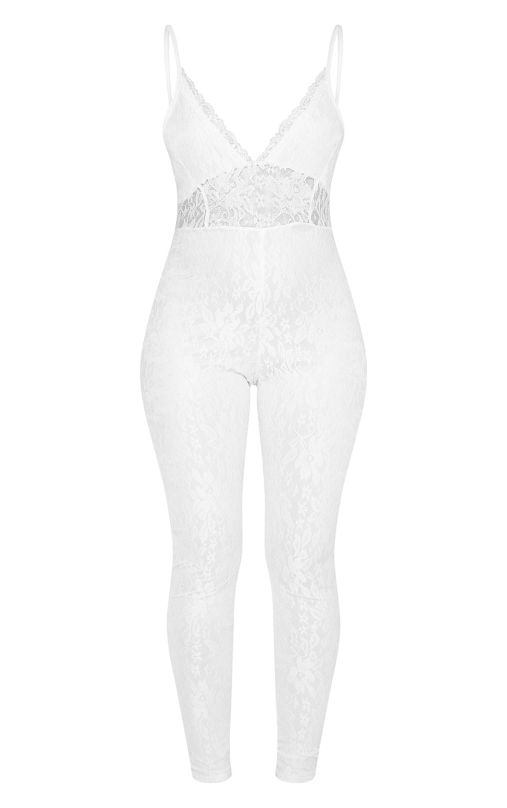 White Strappy Lace Jumpsuit 3
