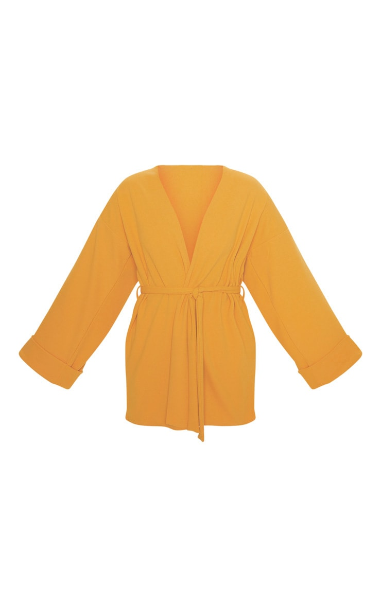 Mustard Belted Oversized Sleeve Blazer 2