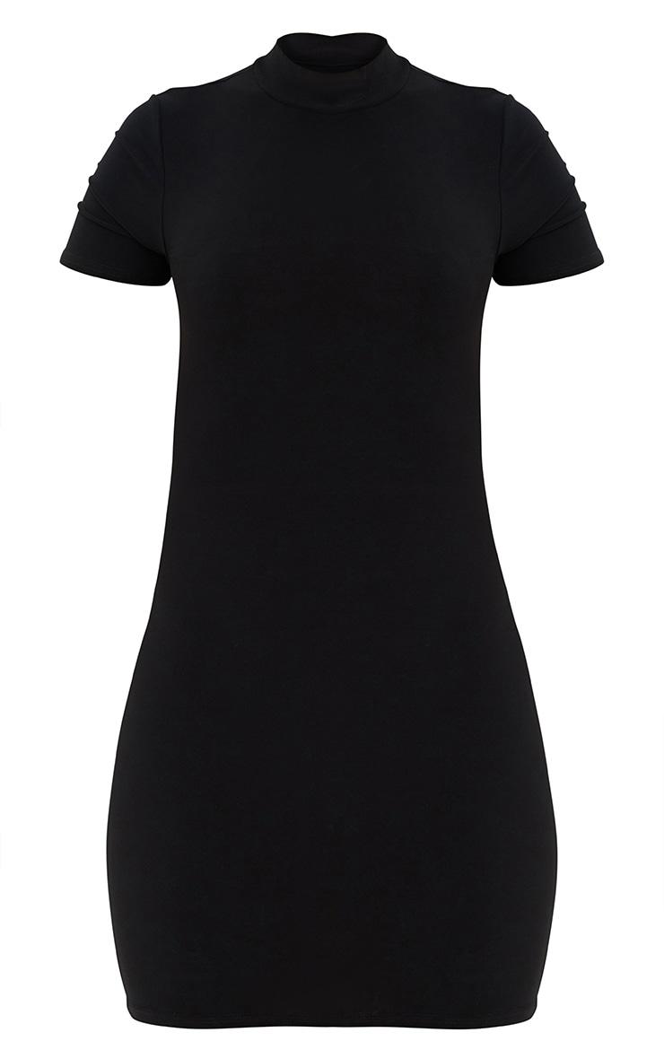 Black High Neck Short Sleeve Tie Back Bodycon Dress 3