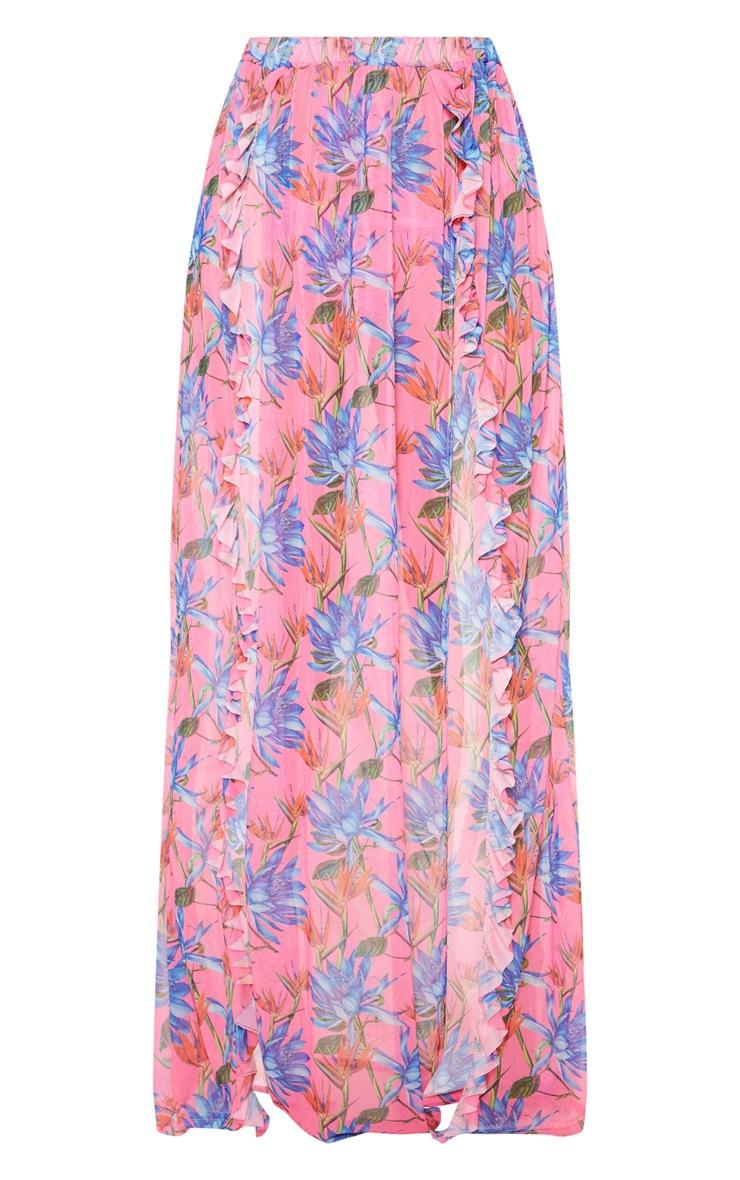Pink Floral Print Frill Split Maxi Skirt 3