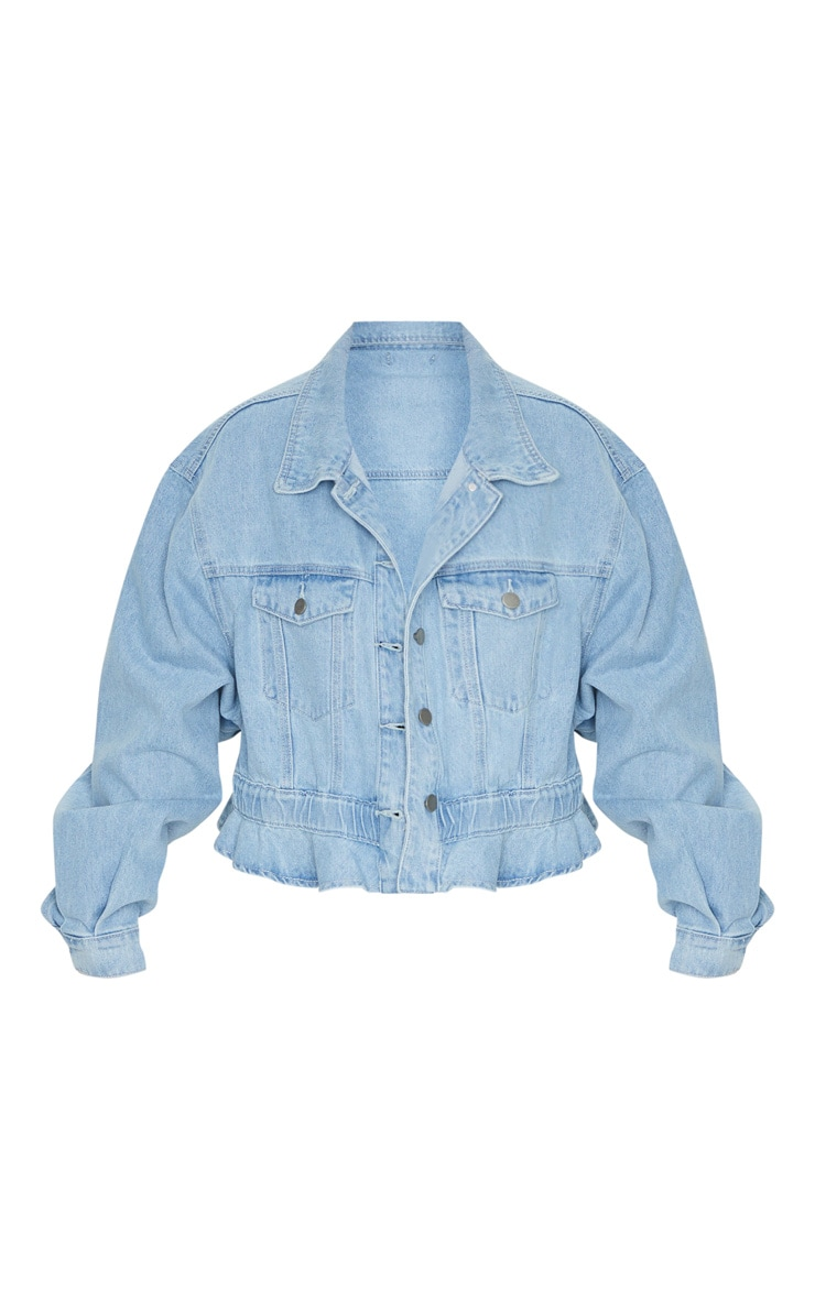 Light Blue Wash Rope Tie Hem Oversized Denim Jacket 3