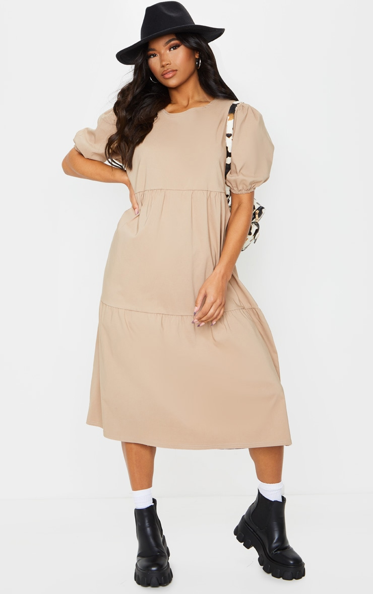 Camel Puff Sleeve Tiered Midi Smock Dress 3