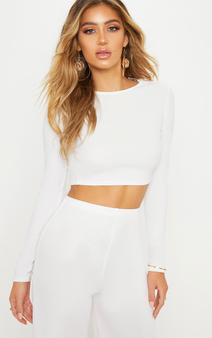 White Lace Up Back Long Sleeve Crop Top  2