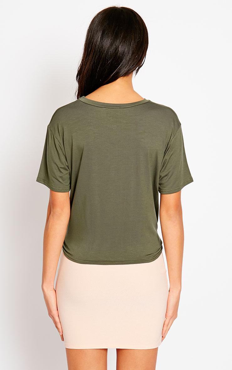 Basic Khaki Knot Front T-Shirt 2