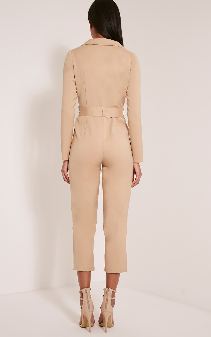 Mell Taupe Wrap Buckle Crop Jumpsuit 2