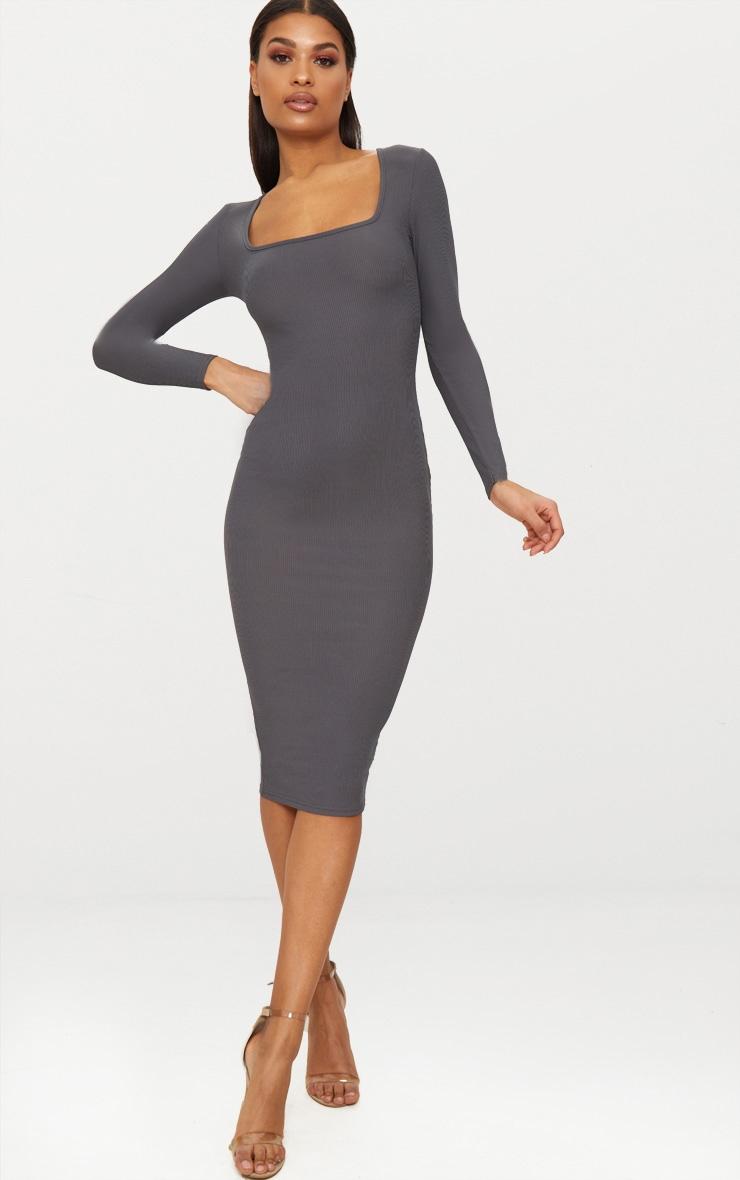 Charcoal Grey Ribbed Long Sleeve Midaxi Dress 1