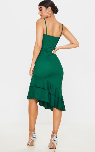Emerald Green Frill Hem Midi Dress