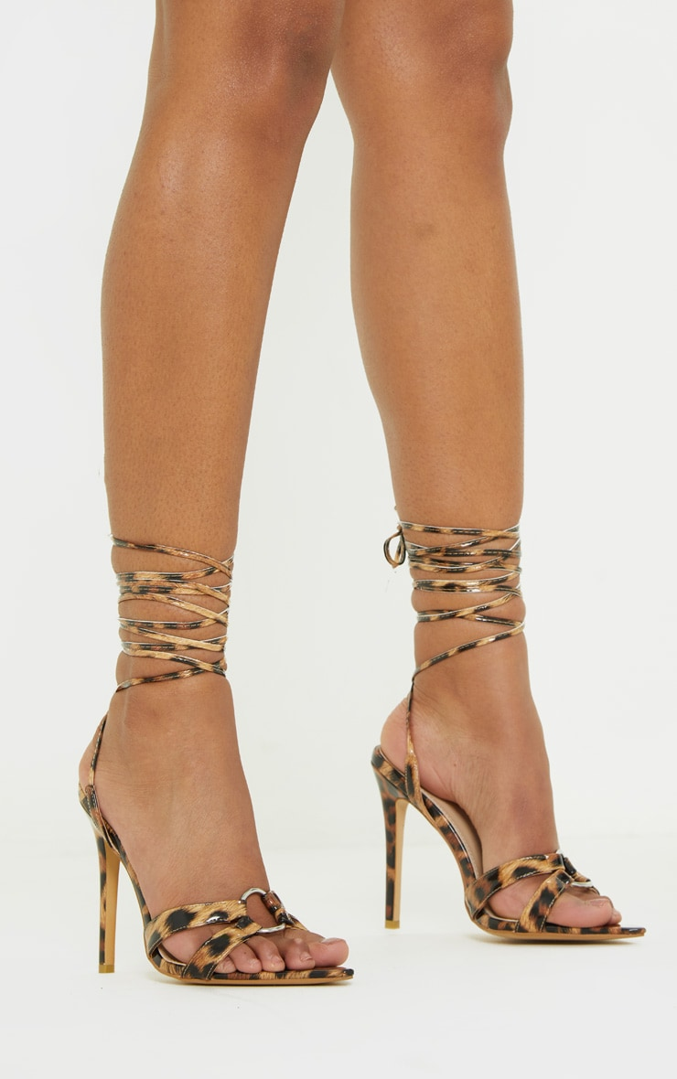 Leopard Point Ring Detail Lace Up Sandal 2