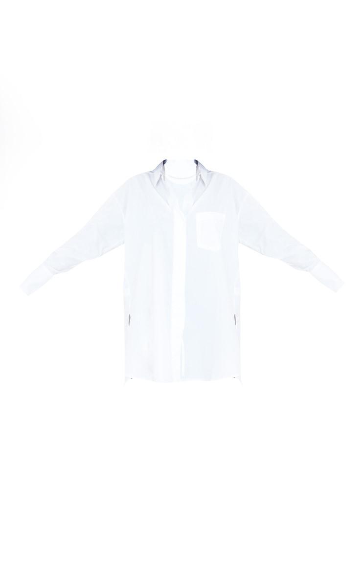 Tall White Poplin Split Side Detail Shirt Dress 5