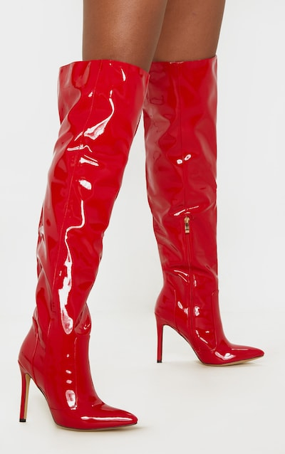 Red Patent Knee High Boot