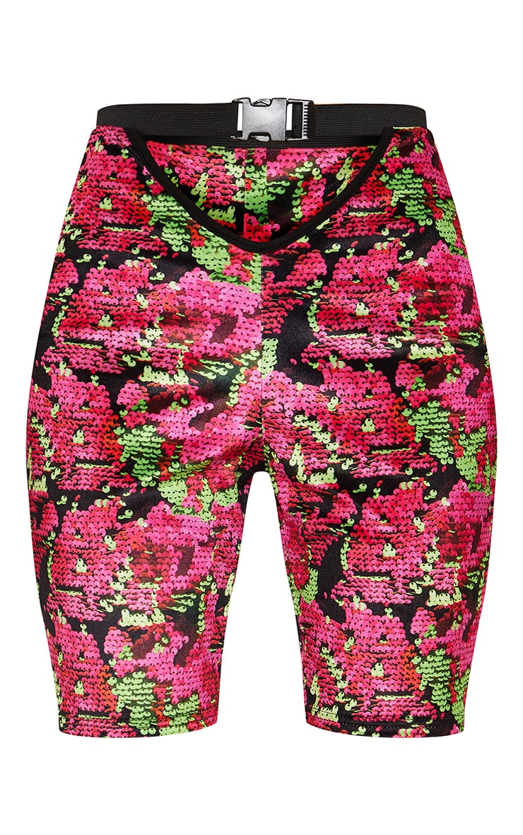 Printed Velvet Buckle Strap Cycle Shorts 3