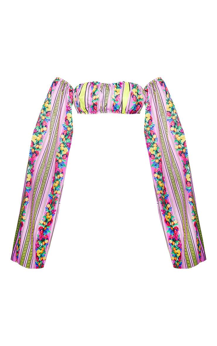 Multi Mixed Print Satin Bardot Split Sleeve Crop Top  3