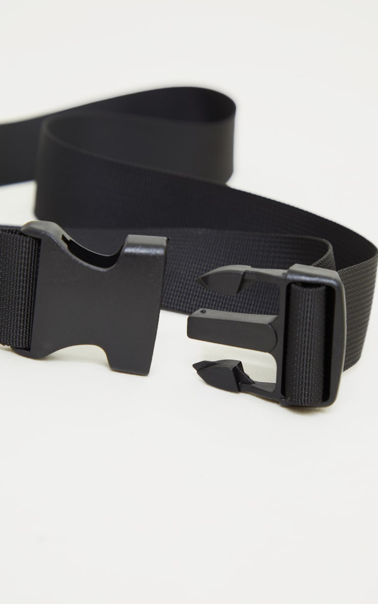 Black Slider Buckle Tape Belt 3