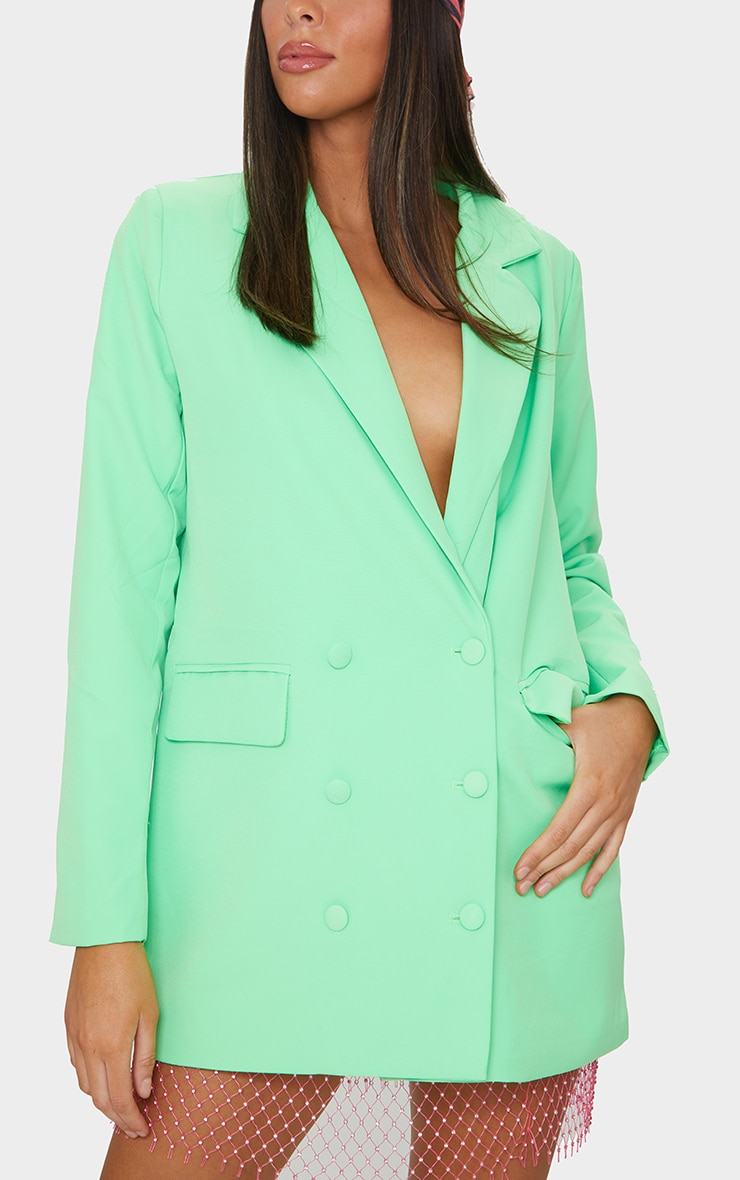 Bright Green Oversized Double Breasted Covered Button Blazer 4