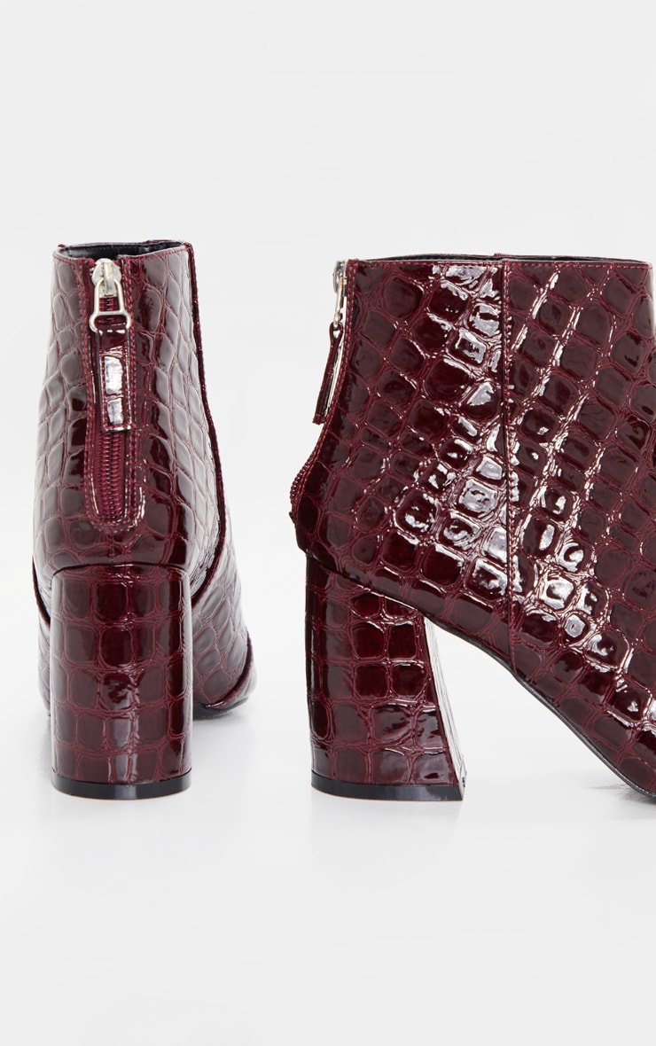 Dark Red Croc Curved Block Heel Ankle Boot 4