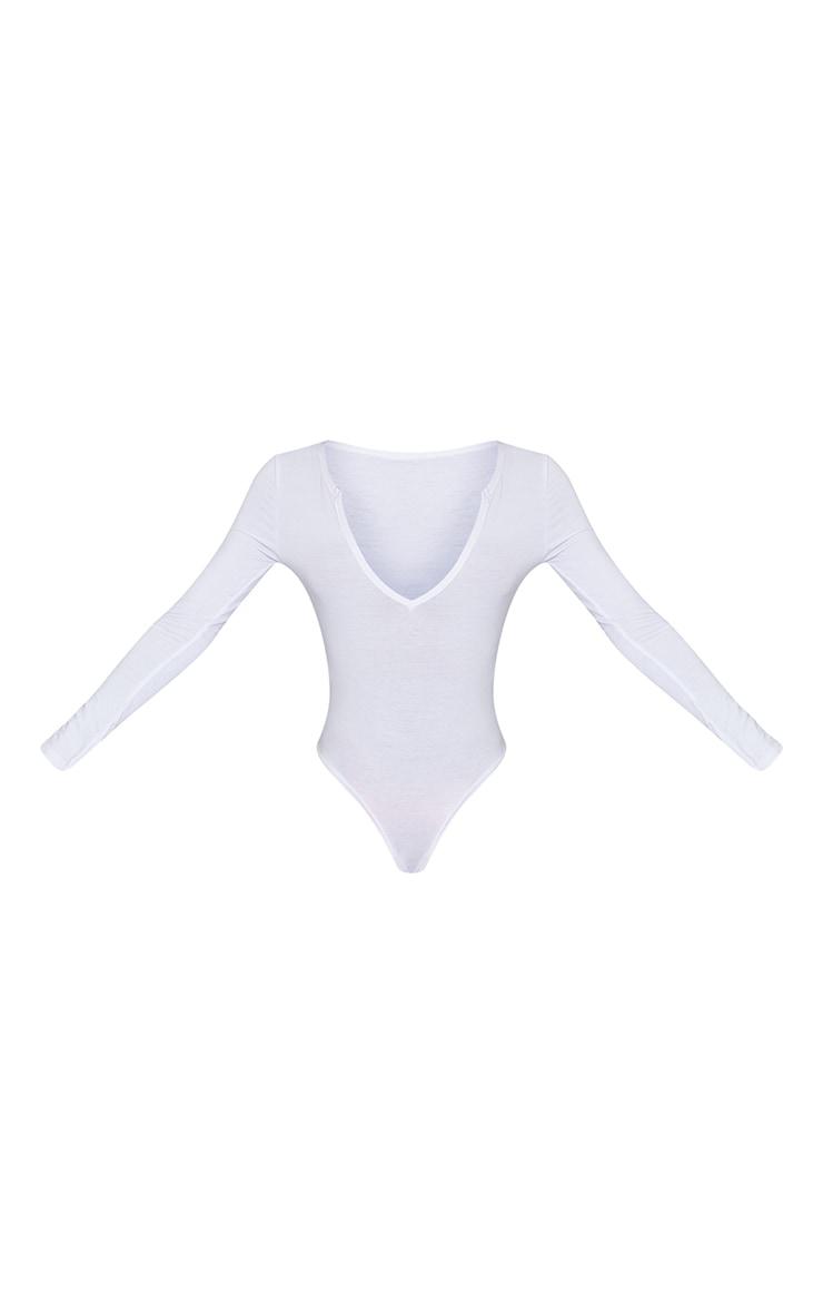 Tall White Basic Plunge Long Sleeve Bodysuit 5